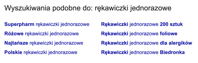Propozycje fraz kluczowych na dole wyszukiwarki.