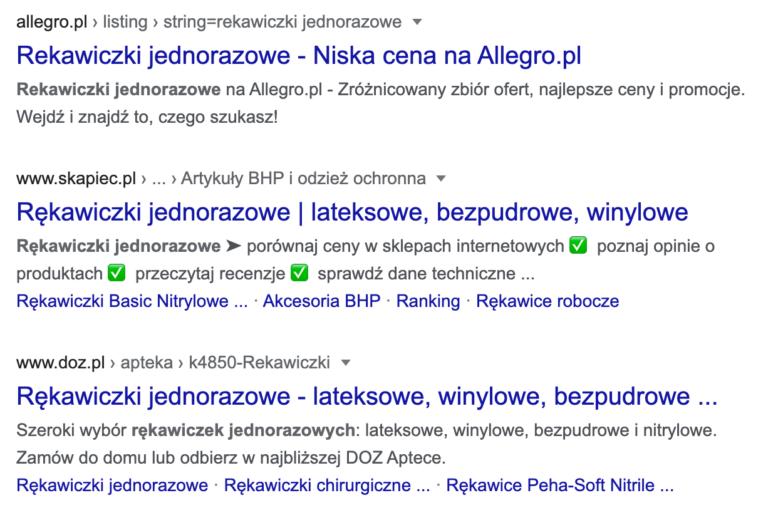 TOP3 wyników wyszukiwania