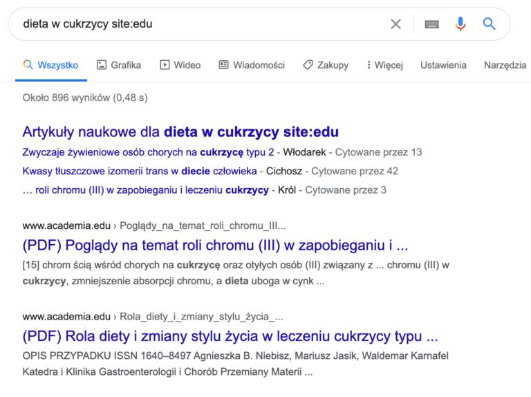 Widok z Google stron z końcówką edu