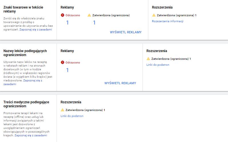 Menadżer zasad Google Ads (screen)