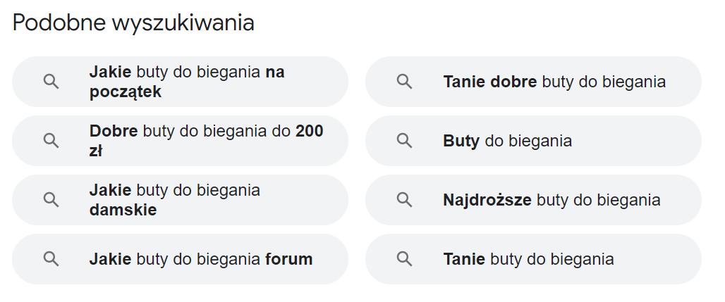Podobne wyszukiwania Google - screen