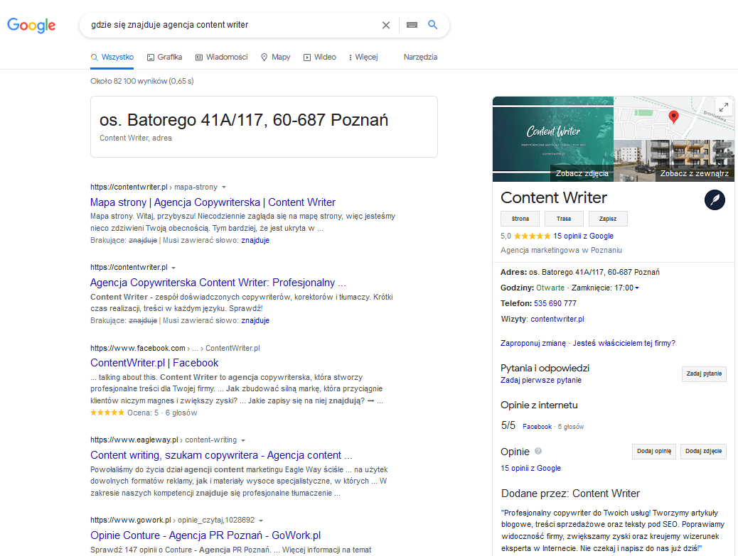 Google Knowledge Graph (agencja Content Writer)- screen